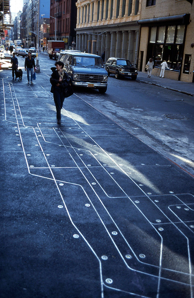 Nyc Subway Map Over Street Map.Subway Map Floating On A New York Sidewalk Francoise Schein S Projects
